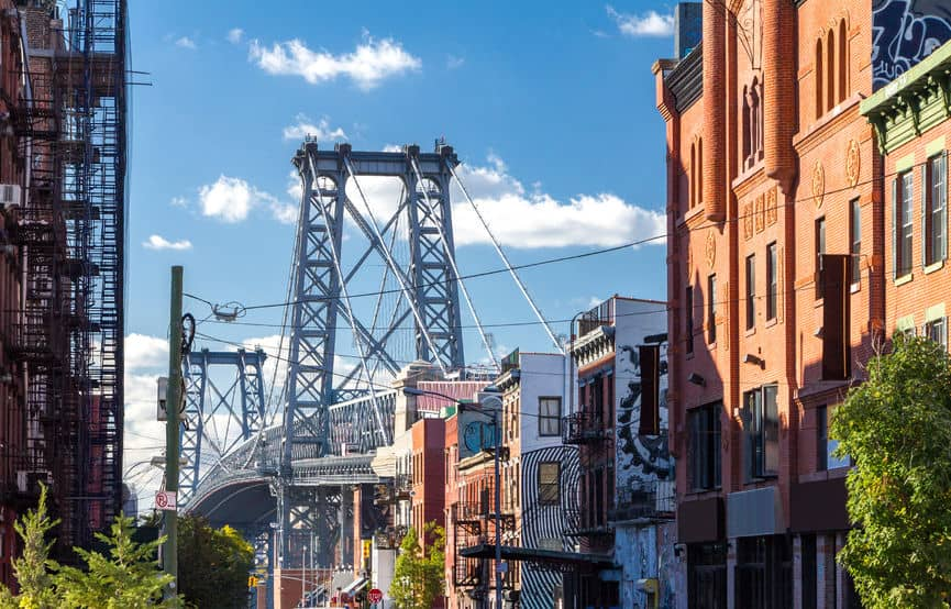williamsburg bridge street scene in brooklyn, new york city, new york