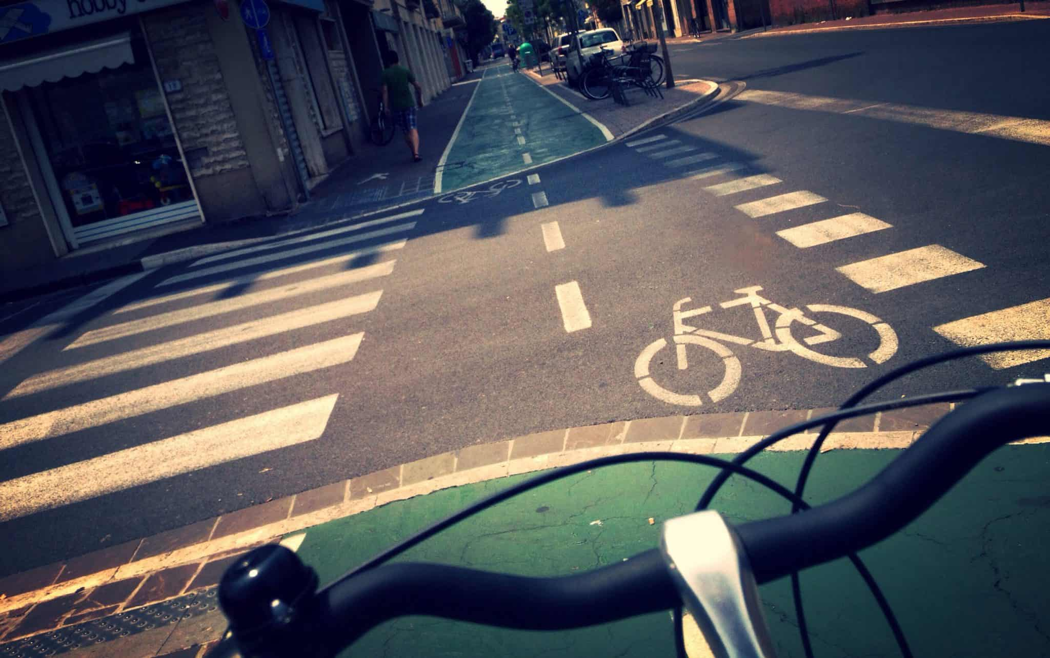 bike lane view from the cyclist