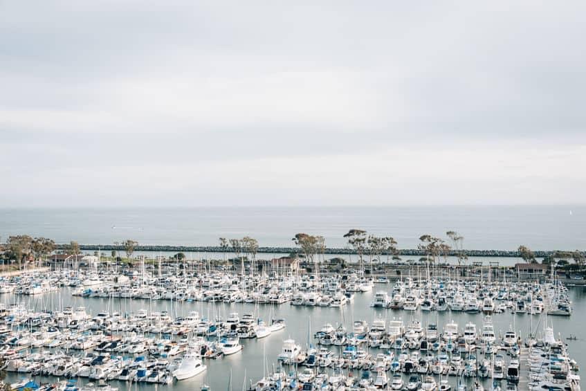 boats docked in a marina in Orange County, california