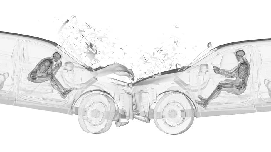 3d rendered illustration of two cars in a head on collision