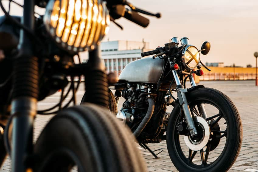 close up of two motorcycles