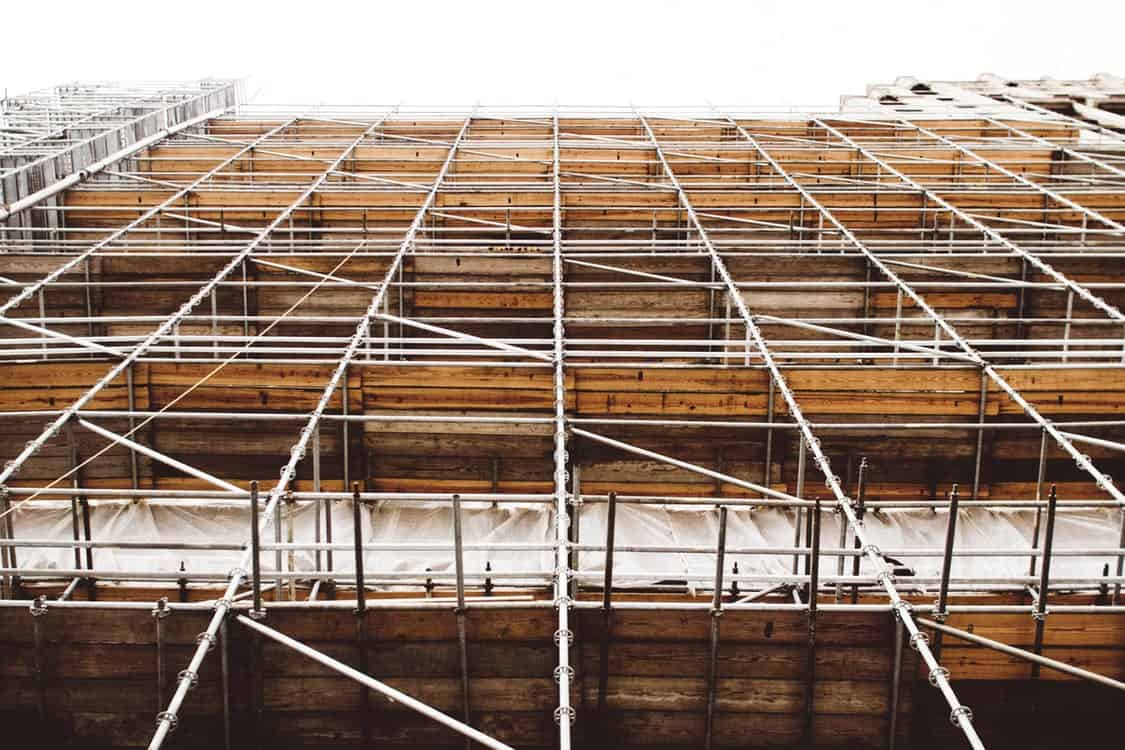scaffolding at a construction site