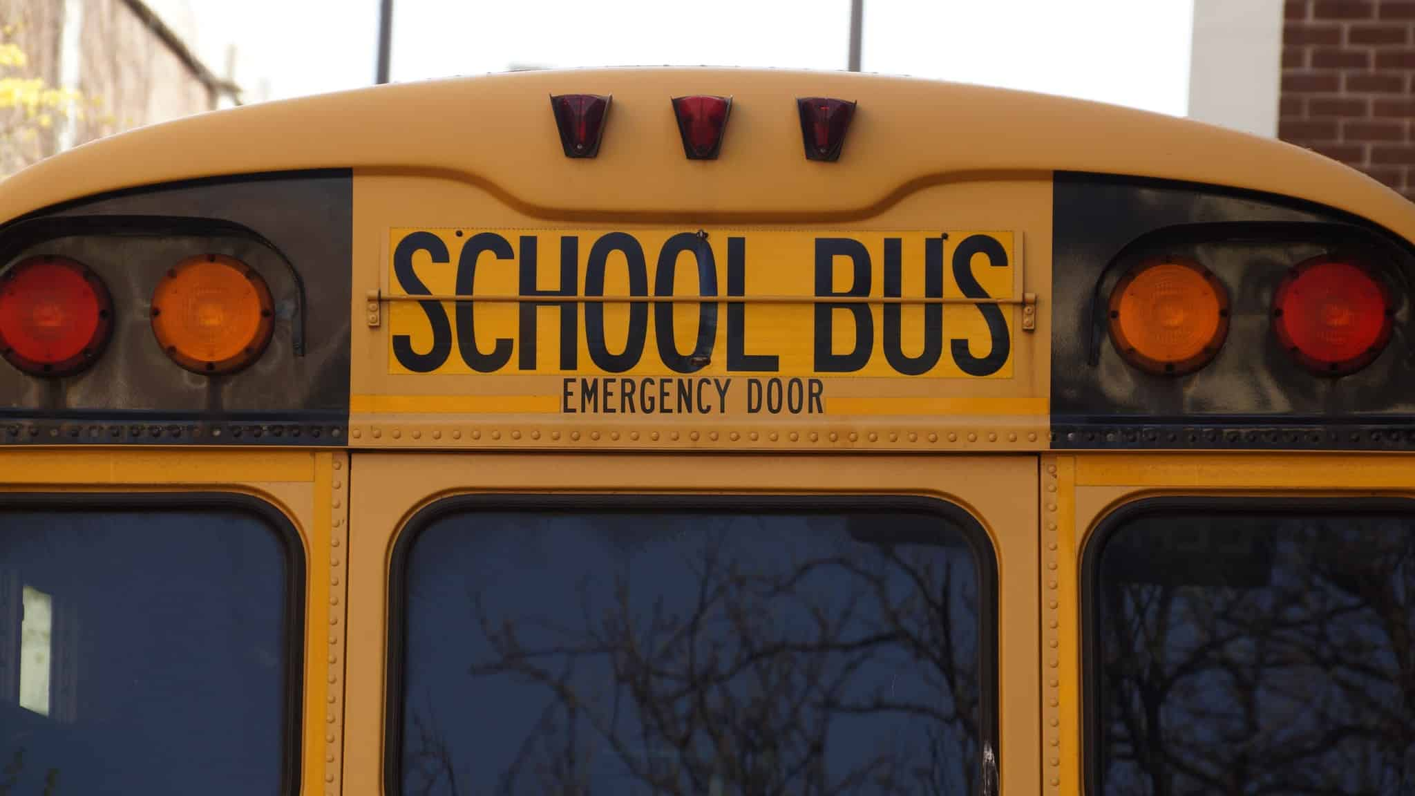 close up of the back of a school bus and emergency door