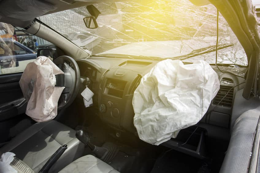 Air bag and Front windshield cracked by car accident