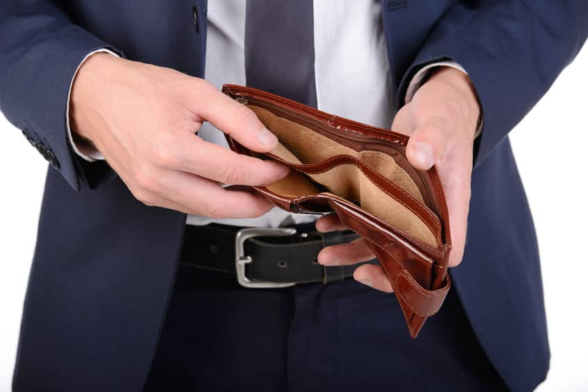 person showing an empty wallet