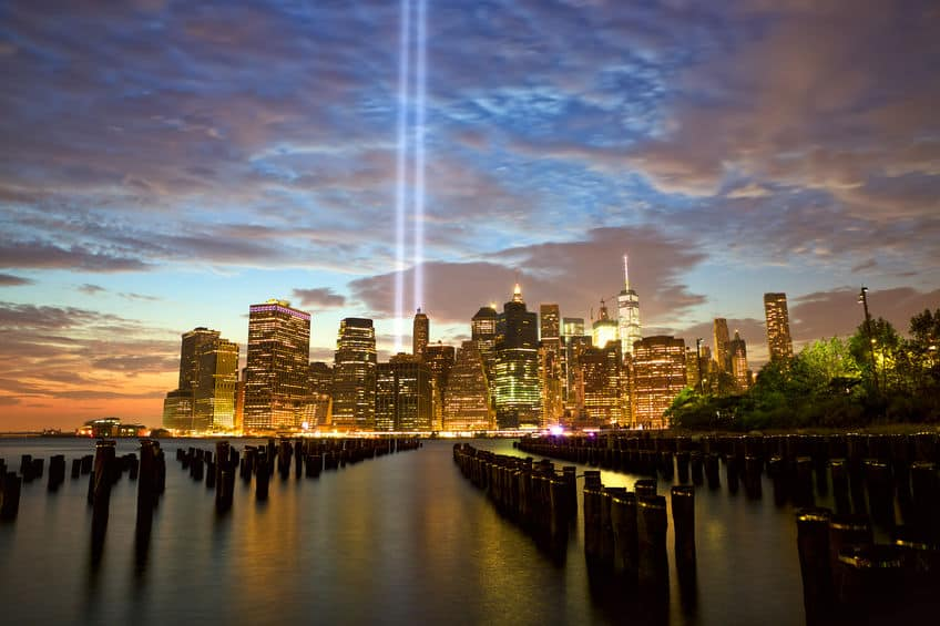 New York City Manhattan skyline with Tribute in Light