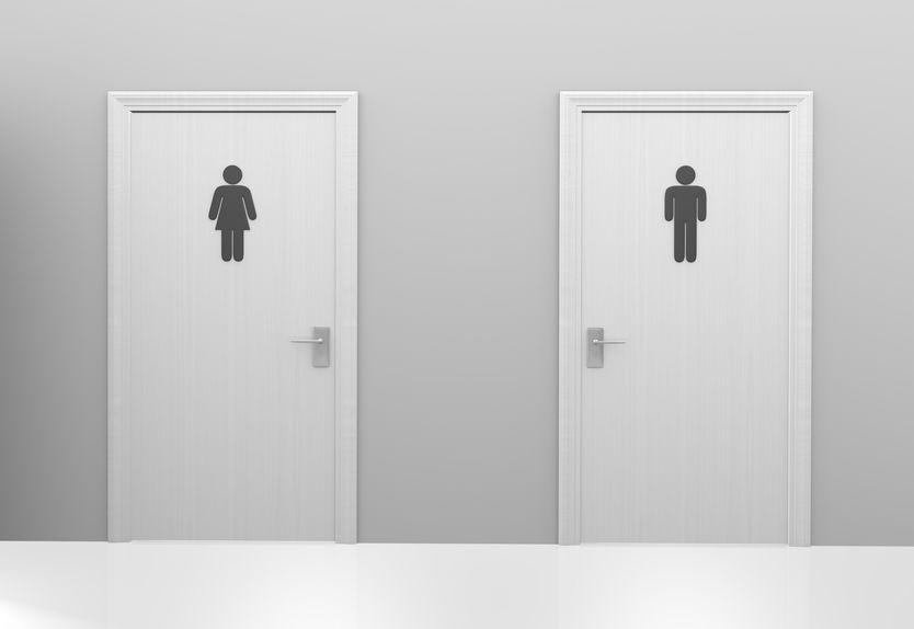 gendered bathroom doors