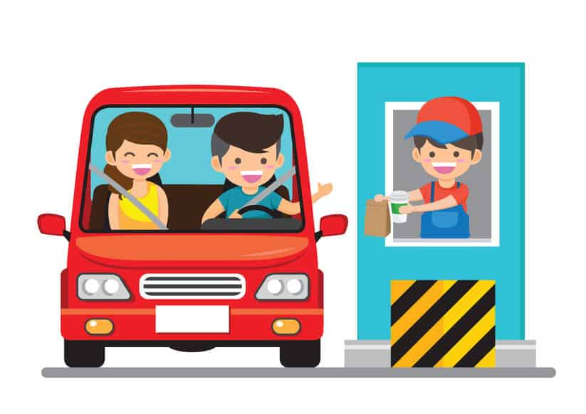 illustration of couple going through a drive thru and receiving food