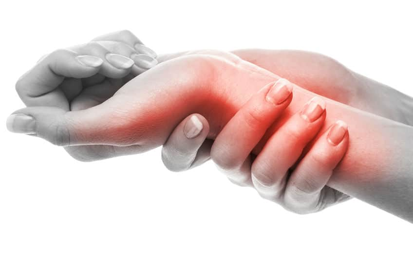 close up of two hands, one holding the other's wrist, with the wrist highlighted in red to reference pain