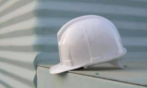 a white hard hat