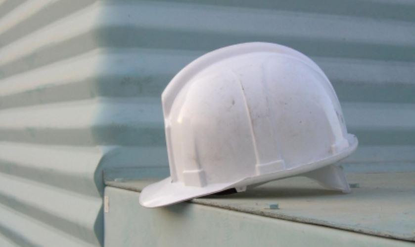 a white hard hat