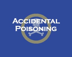 Accidental Poisoning - blue overlay on a picture of the poison warning label