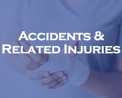 accidents & related injuries - blue overlay on an injured wrist