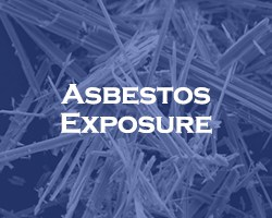 Asbestos Exposure - blue over a microscopic view of asbestos