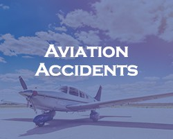 Aviation Accidents - blue overlay on an airplane sitting on a runway