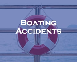 Boating Accidents - blue overlay on a life preserver hanging on the railing of a boat