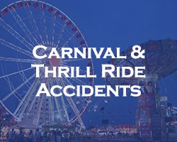 Carnival And Thrill Ride Accidents - blue overlay on an image of a carnival with a swing ride and ferris wheel
