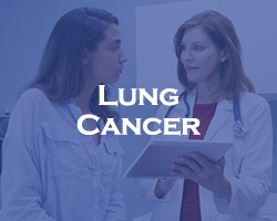 Lung Cancer - blue over a doctor talking to a patient