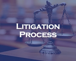 Mesothelioma Litigation Process - blue over legal scales