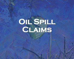 Oil Spill Claims - blue over a leaf floating in water contaminated by an oil spill