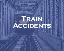 Train Accidents - blue over a head on view of a train on railroad tracks