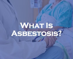 What Is Asbestosis - blue over a doctor speaking with a patient in a hospital bed
