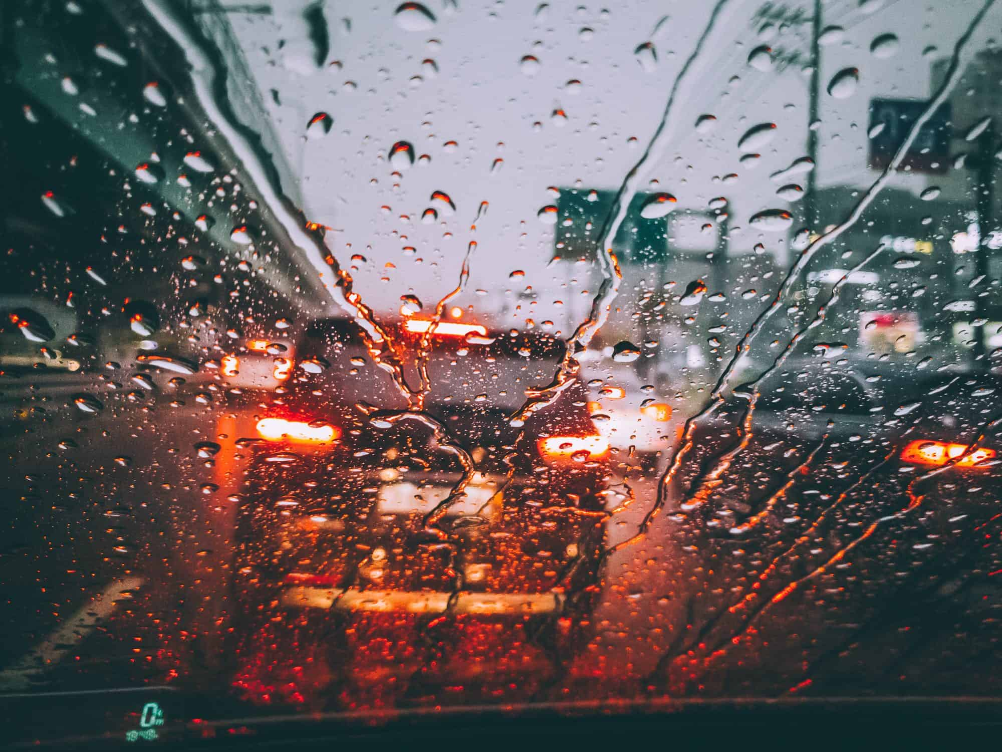 Driving in the rain behind an SUV