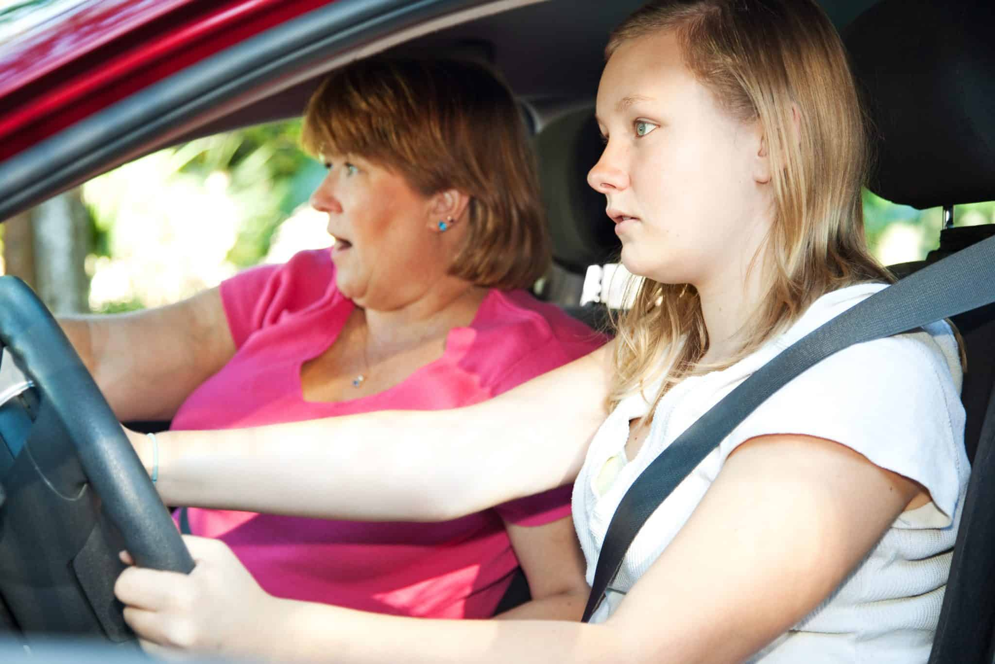 Teenage driver and her mother right before getting in a car accident.