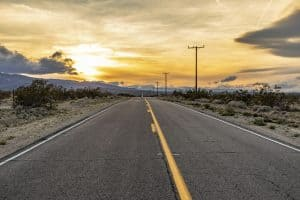 street in sunset at twenty-nine palms in California, USA
