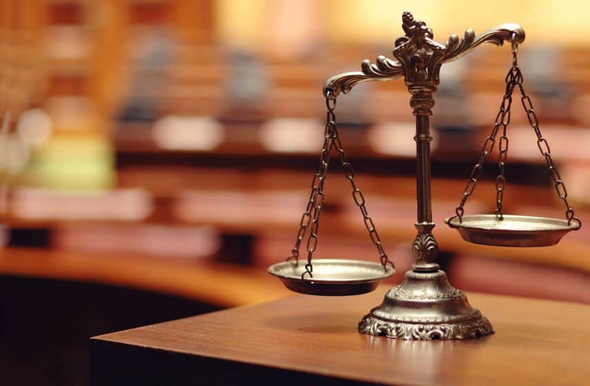 justice scales in a courtroom